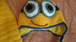 шапка шарфик и варежки комплектом