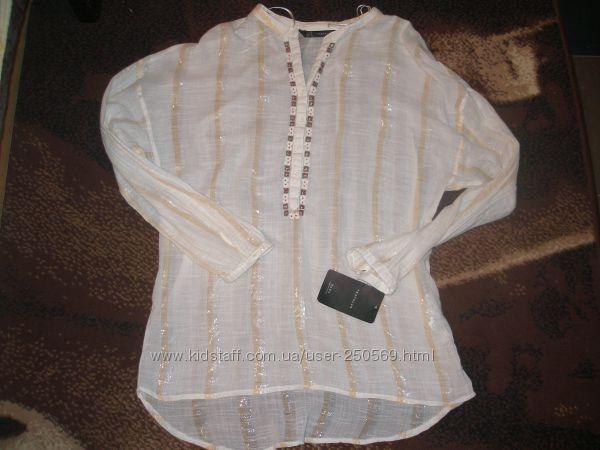 Zara. Оригинал. Рубашка с вышивкой. Р 46-50. Облегченный хлопок