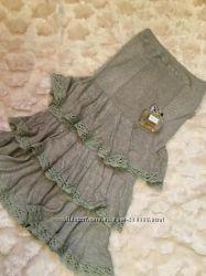 Mango. Оригинал. Натуральное трикотажное платье-юбка бандо 2 в 1. р44-50