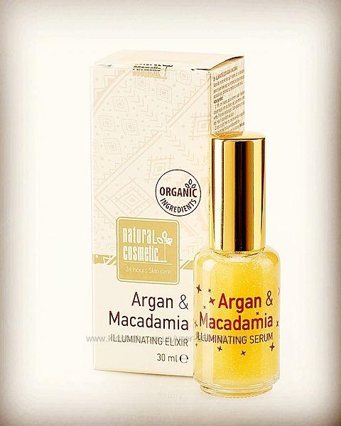 Освещающий эликсир для лица с гиалуроновой кислотой арган и макадамия