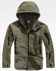 флисовые куртки  с капюшоном для мужчин, хаки, серый, черный