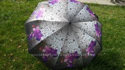 Женский зонт Beautiful orchids, с 3-D эффектом, сатин, анти ветер