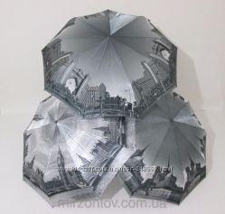 Красивый женский зонт серия Чудные города, карбон, антиветер