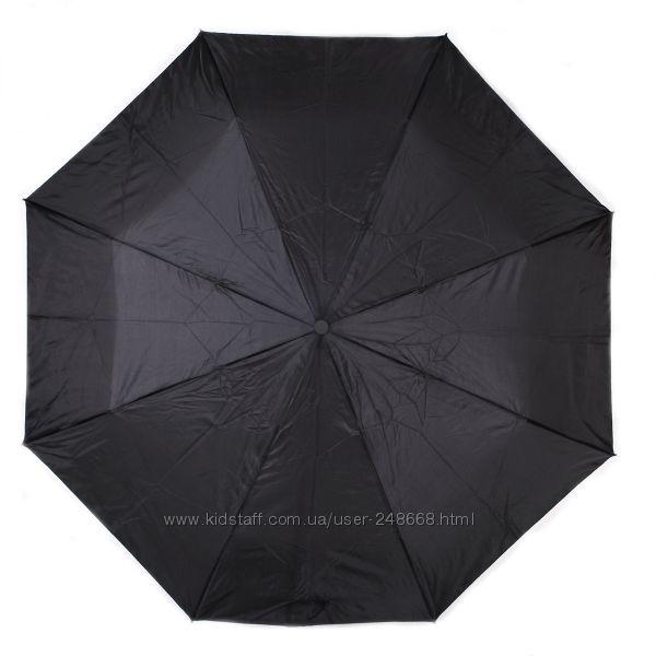 Классический , черный мужской зонт полуавтомат, эргономич. ручка