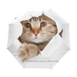 Оригинальный женский зонт Кошки, ТМ Amiko Польшаавтомат в подар. упаковке