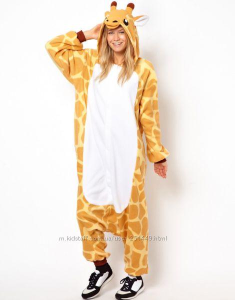 Теплая пижама кигуруми жираф f04ed9c53df63