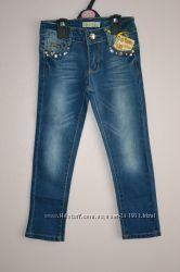 Стильные мягкие джинсы со стразами на девочек. Размеры от 1-го до 8-ми лет.
