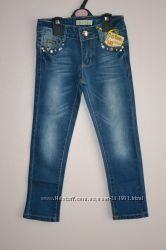Стильные мягкие джинсы на девочек. Размеры от 1-го до 8-ми лет.