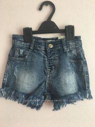 Шикарные джинсовые шорты для девочки. Размеры с 1-года до 6-ти лет.