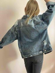 Детский джинсовый пиджак в стиле Zara. Оверсайз. Размеры 120-170