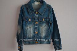 Очень стильный джинсовый пиджак на модниц ростом от 110 см до 150 см