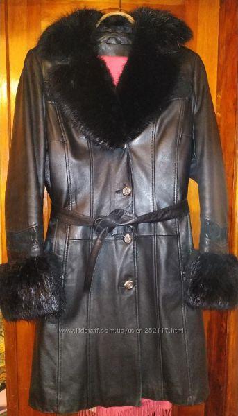 Пальто кожа с натуральным мехом Woger р. L 48-50