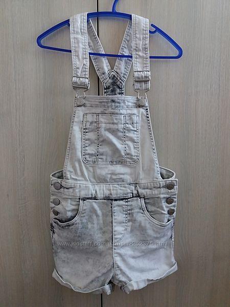 джинсовые шорты-полукомбинезон