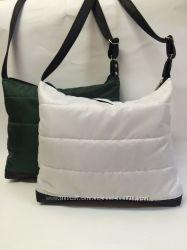 Вместительная стеганная дутая  женская сумка на одной ручке
