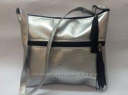 Шикарная женская сумка метали серебро- модель 1777