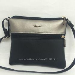 Женская сумочка кросс-боди серебристо-черная - модель 120045