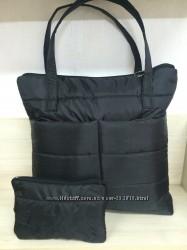 Стеганная сумка в комплекте с косметичкой