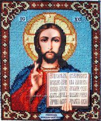 Икона Господь Вседержитель вышивка бисером