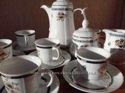 Настоящий фарфор, кофейный сервиз  из 15 предметов