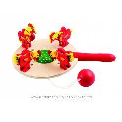 игрушка из дерева   Курочки и зёрнышки