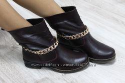 Зимние натуральные кожаные ботинки бордового цвета с цепочкой