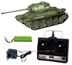 Танк на радиоуправлении 2. 4GHz 1к16 Heng Long T-34 с пневмопушкой и дымом