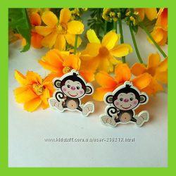 Декоративные деревяные пуговицы обезьянки, для скрапбукинга