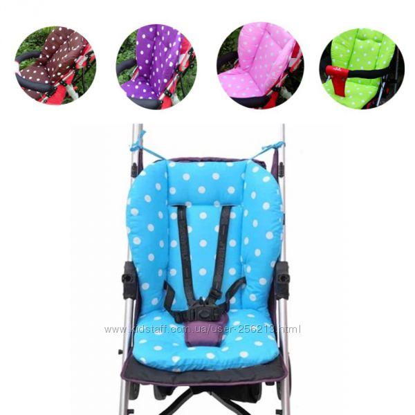 Вкладыш, подушка в коляску на стульчик для кормления 2 цвета, хлопковый