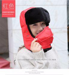 Теплые шапки Maitri с защитой. красный, черный цвет, лыжные, ветрозащитные