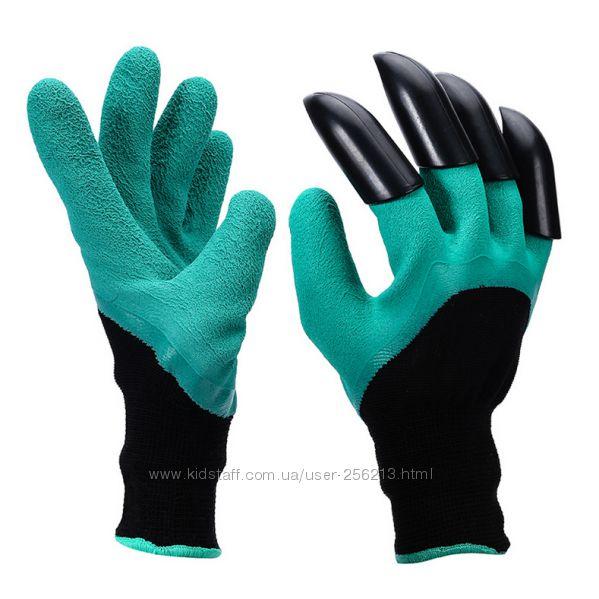 Перчатки с пластиковыми когтями для земельных работ.