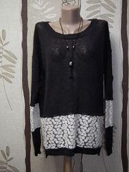 Натуральный нарядный легкий свитерок french connection, р. м