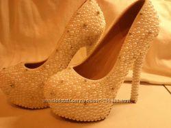 Сказочные жемчужные туфельки 36 р-ра к Новому году или свадьбе