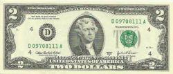 Банкнота 2 доллара 2003 года, серии А- Ремейк юбилейной серии 1976 г.