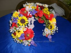 Венок украинский, венок на голову, венок из цветов, веночек на голову, венок