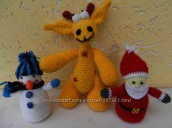 Вязаные игрушки - ангелочки, жираф, фрукты, пасхальные курочки