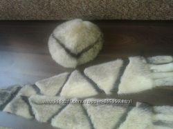 красивая норковая шапочка с шарфиком
