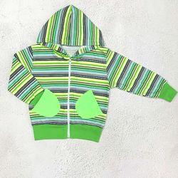 Кофта на молнии детская Полоска, цвет зеленый и синий, рост 98 - 116