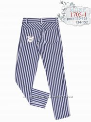 Полосатые брюки джинс-стрейч, декор Микки р. 110, 116, 122