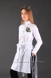 Стильная удлиненная рубашка с пчелой ТМ Моне р. 140, 146, 158
