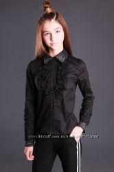 Крутая черная рубашка со стразами Моне р. 122, 128, 134, 146