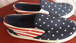 Слипоны мокасины текстильные туфли, новые
