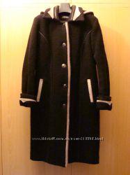 Пальто зимнее зима теплое букле утепленное шерстяное размер 52 XL капюшон