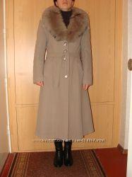 Пальто зимнее теплое воротник натуральный мех лиса зимове Carlot corp 46 48