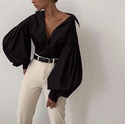 Стильная женская рубашка с объемным рукавом черного цвета 42-46 р