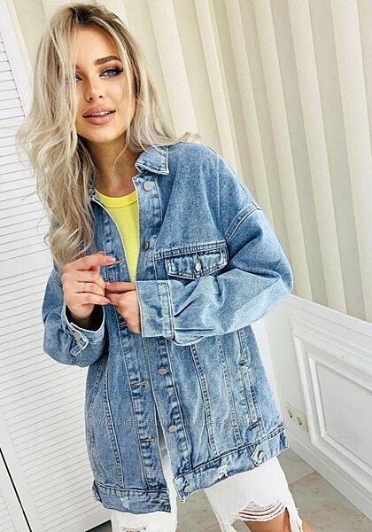 Удлиненная джинсовая куртка оверсайз с карманами