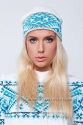 Зимняя шапка с национальным украинским узором в наличии