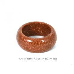 Кольцо из Авантюринового стекла - Золотой песок - Магия камня - 20, 0 р-р.