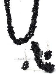 Бусы, серьги и браслет из крошки агата Альбина