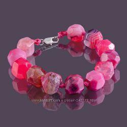 браслет из натурального розового агата ягодный аромат