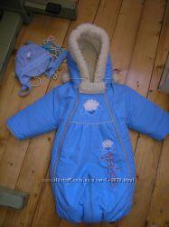зимний комбинезон - трансформер на овчине  шапка в подарок